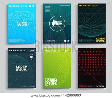 Set of Abstract posters with Circle Meshes. Abstract circles design. Applicable for Covers, Placards, Posters, Flyers and Banner Designs. Eps10 vector covers.