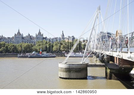 Golden Jubilee Bridge And Support On River Thames