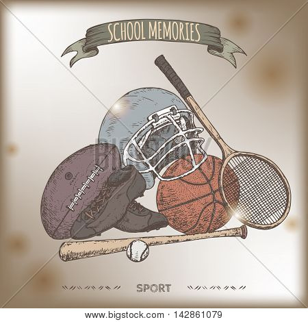 Vintage sport gear color hand drawn sketch placed on old paper background. Vintage collection. Great for school, education, sport, retro design.