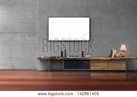 Living Room Led Blank Screen Tv On Concrete Wall With Wooden Table Media Furniture