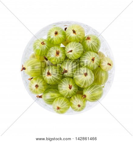 Green gooseberry in a bowl isolated d