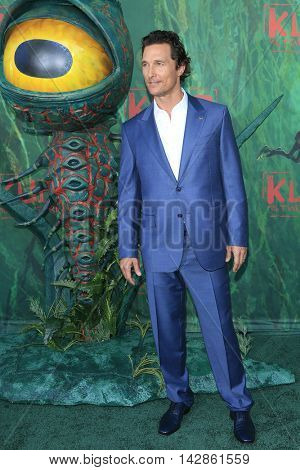 LOS ANGELES - AUG 14: Matthew McConaughey at the premiere of Focus Features' 'Kubo and the Two Strings' at AMC Universal City Walk on August 14, 2016 in Los Angeles, California