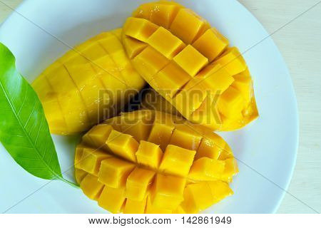 Mango Fruit Isolated On Wood Background