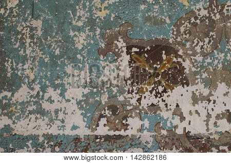 fragment dilapidated frescoes in the ancient temple