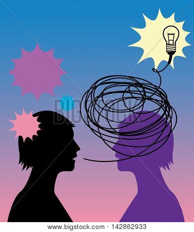 Light bulb in head abstract, vector illustration
