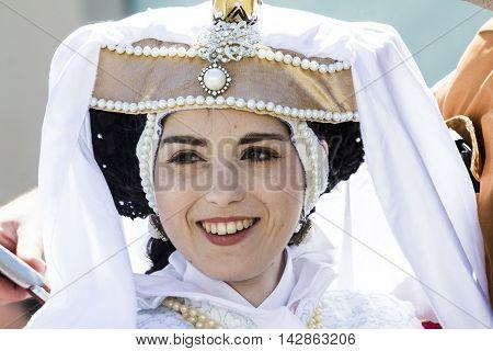 CAGLIARI, ITALY - May 24, 2014: Giocomix to Lazzaretto of Sant'Elia Cagliari district. - Sardinia - portrait of a beautiful smiling girl in cosplay costume