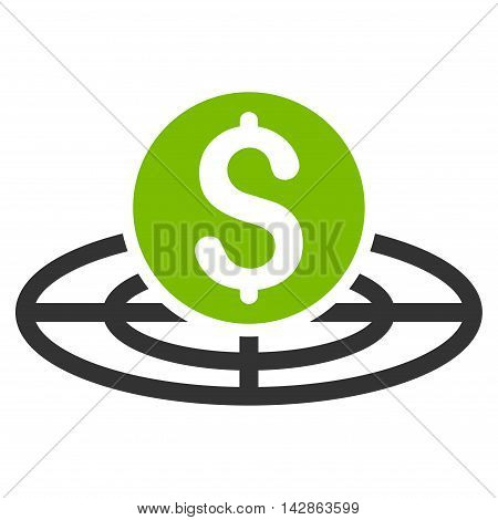 Money Crosshair icon. Vector style is bicolor flat iconic symbol with rounded angles, eco green and gray colors, white background.