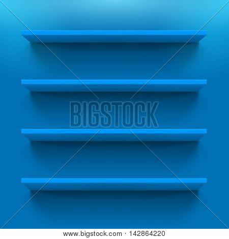Four gorizontal blue bookshelves on the blue wall
