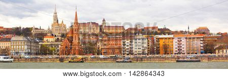 Budapest panorama with St. Matthias and Fishermen's Bastion from Danube river