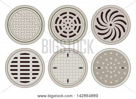 Manhole Covers. Flat Design Vector Illustration of various Manhole Covers. No Gradients, No Transparencies. Each Pattern in separate layer.