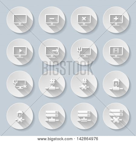 Set of flat round icons with connection on gray background