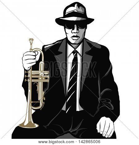 Jazz trumpet player - vector illustration