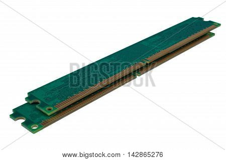 Computer memory modules DDR2 isolated on white background closeup with clipping path