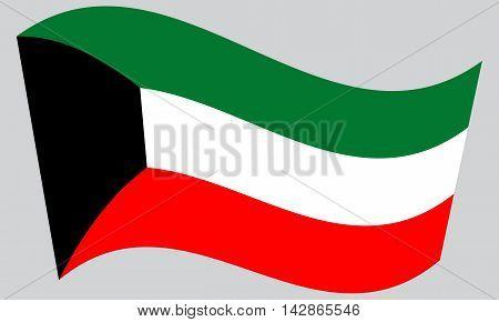Flag of Kuwait waving on gray background. Kuwait national flag.