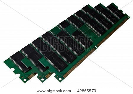 Computer memory modules DDR isolated on white background closeup with clipping path