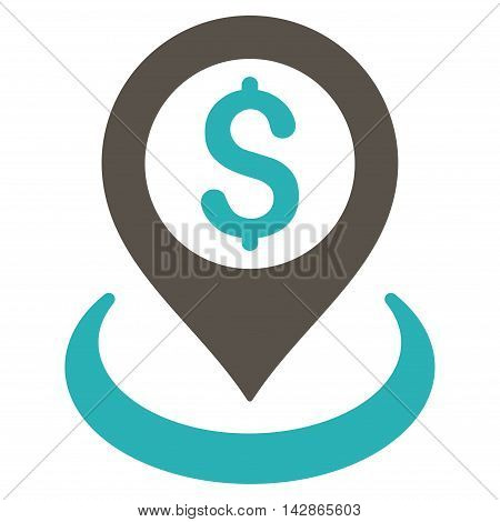 Dollar Placement icon. Vector style is bicolor flat iconic symbol with rounded angles, grey and cyan colors, white background.