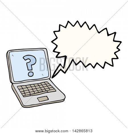 freehand drawn speech bubble cartoon laptop computer with question mark