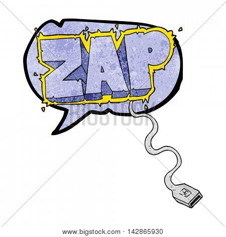 freehand drawn texture speech bubble cartoon usb cable