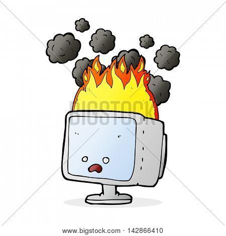 cartoon burning computer screen