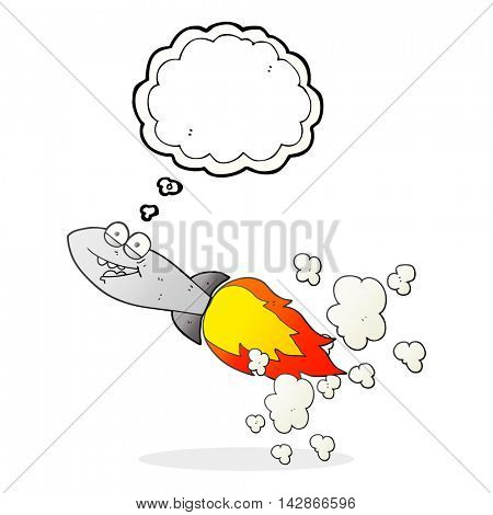 freehand drawn thought bubble cartoon missile