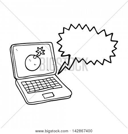 freehand drawn speech bubble cartoon laptop computer with error screen