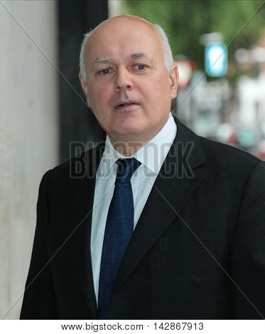 LONDON, UK, JUNE 26, 2016: Iain Duncan Smith arrives for the Andrew Marr Show picture taken from the street