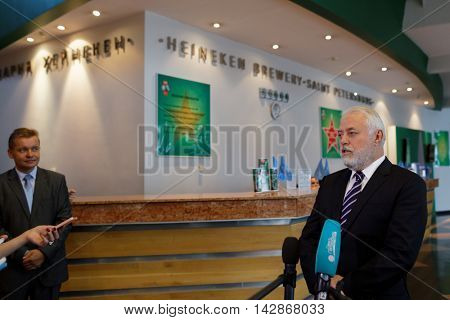 ST. PETERSBURG, RUSSIA - AUGUST 11, 2016: Vice-governor of St. Petersburg Igor Divinsky talks with press during his working visit to the Heineken brewery. It can produce 5 millions HL of beer per year