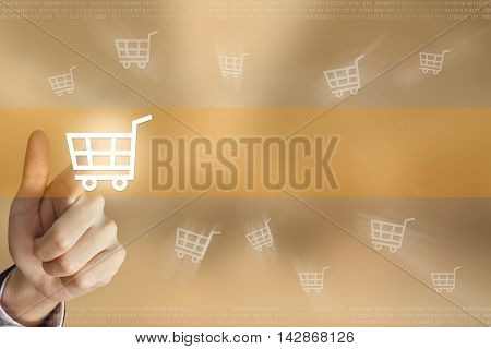 business hand pushing online shopping button business concept
