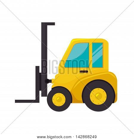 lift truck fork cargo hydraulic machine industrial vector  isolated illustration