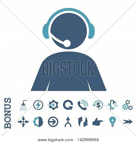 Call Center Operator vector bicolor icon. Image style is a flat pictogram symbol, cyan and blue colors, white background.