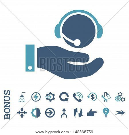 Call Center Service vector bicolor icon. Image style is a flat pictogram symbol, cyan and blue colors, white background.