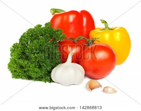 Vegetable isolated on white background - tomato pepper garlic and parsley