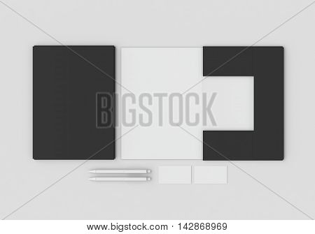 Base black and white stationery mock-up template for branding identity on gray background for graphic designers presentations and portfolios. 3D rendering.