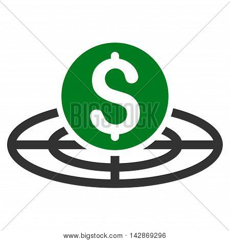 Money Crosshair icon. Vector style is bicolor flat iconic symbol with rounded angles, green and gray colors, white background.