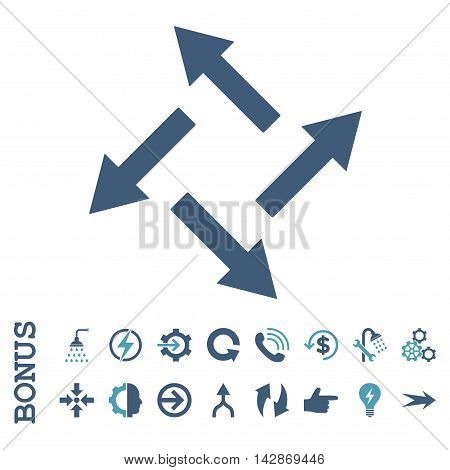 Centrifugal Arrows vector bicolor icon. Image style is a flat iconic symbol, cyan and blue colors, white background.