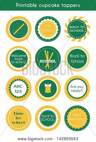 Back to school printable cupcake toppers. Vector set of circle stickers, labels for school party
