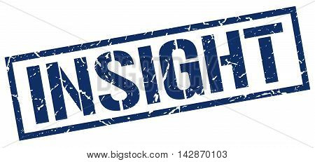 insight stamp. blue grunge square isolated sign