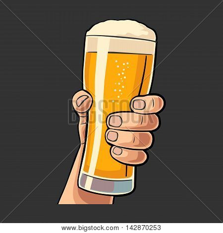 Male hand holding a beer glass. Vintage vector flat illustration for web, poster, invitation to party and birthday. Isolated on black background
