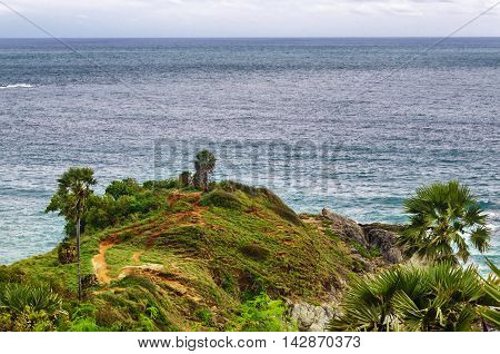 End of land Prompthem Cape Phuket Thailand. The most famous cape in Thailand