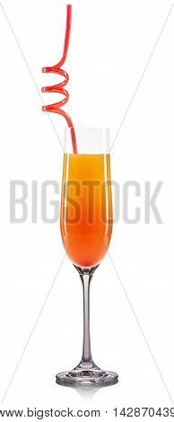 Mimosa cocktail in champagne glass isolated on white background.