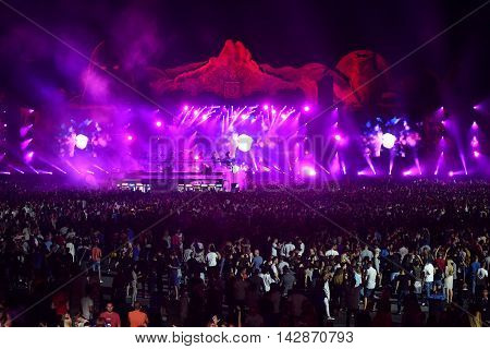 Crowd, Thousands Of People At Music Festival
