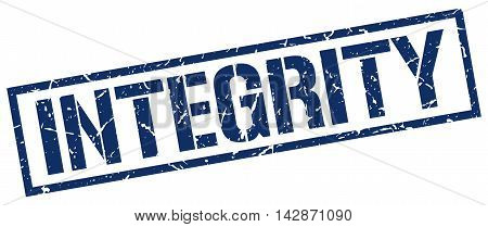integrity stamp. blue grunge square isolated sign