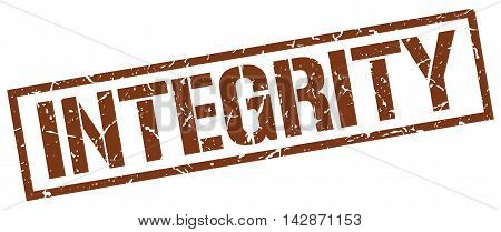 integrity stamp. brown grunge square isolated sign