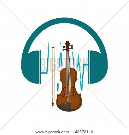 headphone cello music sound icon. Flat and Colorful illustration. Vector illustration