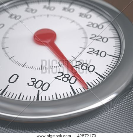 3D illustration. Weight scales measuring morbid obesity values. Depth of field with focus on 280 kg.