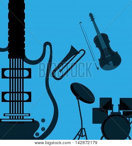 guitar trumpet cello drum music sound instrument icon. Flat and blue background. Vector illustration