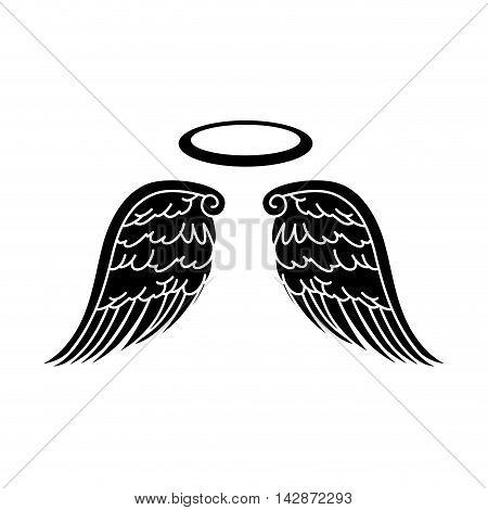 wing halo angel heaven aureole bird freedom vector  isolated illustration