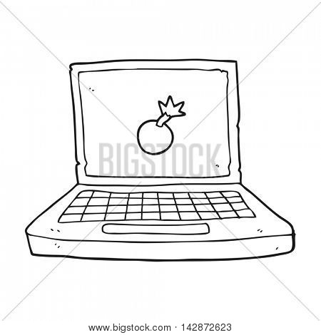 freehand drawn black and white cartoon laptop computer with bomb symbol