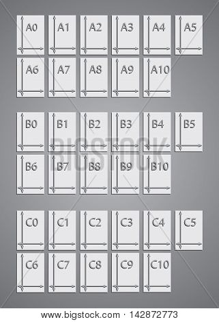 set standard icons icons paper size a, b, c