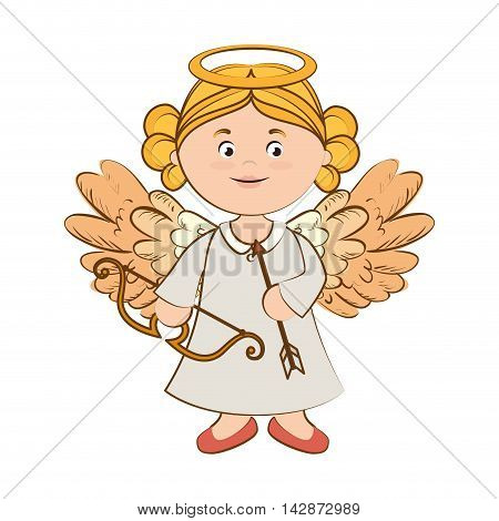 angel arch arrow heaven blonde instrument halo wing  vector  isolated illustration